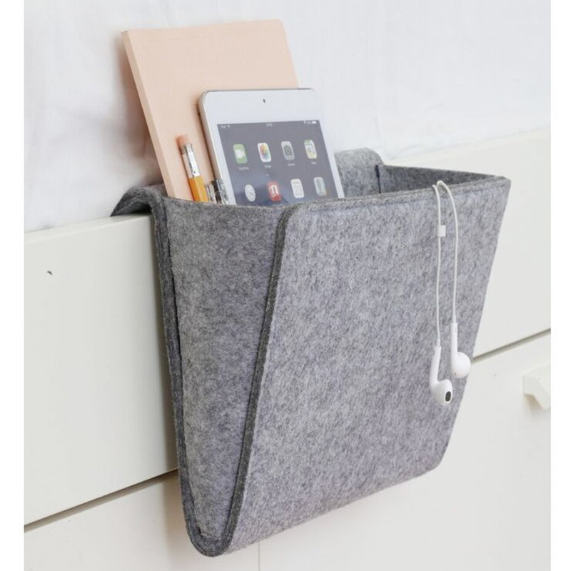 Portable mesilla de noche bolsa de almacenamiento hogar soporte para revistas de artículos de teléfono organizador de pañuelos colchón libro remoto