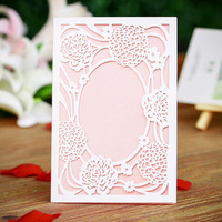 12PCS/lot White Laser Cut Vintage Flower Wedding Invitation Cards with Pink Blank Card Engagement Card Souvenirs Wedding Decor