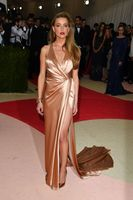 Celebrity Shiny Gold Evening Dresses With High Slits V Neck Sleeveless Satin prom dresses long formal party gowns with train