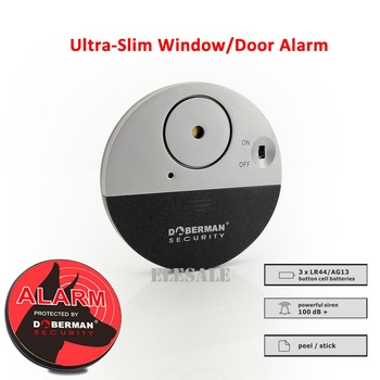 New SE-0106 Ulrta-Slim Door Window Magnetic Sensor Alarm With Warning Sticker For Home House Apartment Store Office Security - discount item  5% OFF Security Alarm