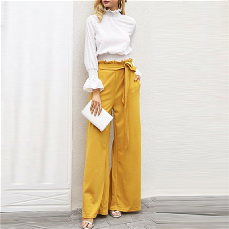 Yellow Long   Wide     Leg     Pants   for Woman Elegant Casual Trousers Loose Over Size 2018 High Quality Female Clothing