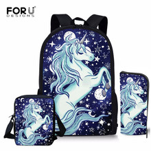 FORUDESIGNS Unicorn School Bags for Girls Children Kids Schoolbag Orthopedic Backpacks Teenagers Dinosaur Mochila Escolar