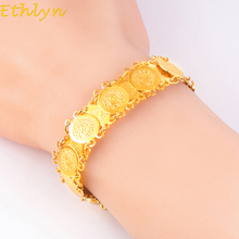 Ethlyn Islam Muslim Arab Coins Bracelet for Money Coin Bracelet Gold Color Women Arab Country Middle Eastern Jewelry B022