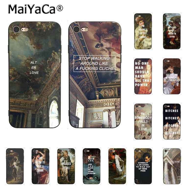 MaiYaCa Art Artistic oil painting English short sentence Phone Case For iphone 11 Pro 8 7 6 6S Plus X XS MAX 5 5S SE XR