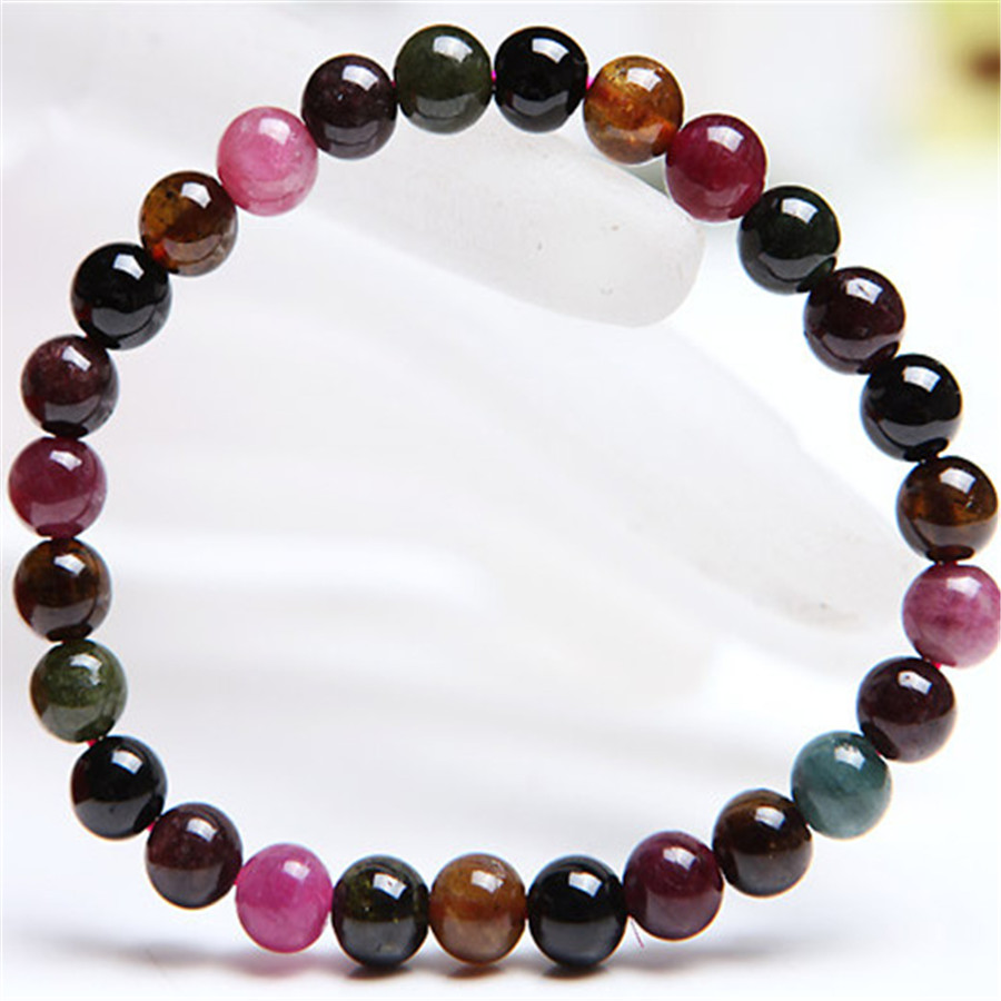 6.5mm Genuine Natural Colorful Tourmaline Gem Stone Bracelets For Women Femme Charm Stretch Round Crystal Beads Bracelet 9mm genuine sugilite bracelets for female women natural stone round beads crystal jewelry bracelet