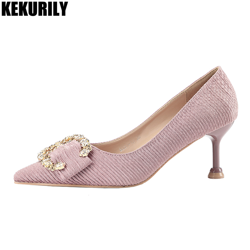 Pleated High Heels Pump for Women rhinestone slip on sandals Female Heels Shoes buckle pointed toe slides black apricot red pink