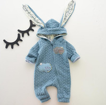 2016WINTER New style cute boys and girls rompers baby long rabbit ears hooded jumpsuit newborn babies