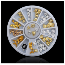 1 box Cute Ocean Sea Life Gold Silver 3d Metal Alloy Nail Art Decorations Studs Wheel DIY Nail Rhinestone Jewelry Tools mns527 1500pcs 6 style punk 3d metal nail art rhinestone alloy studs diy decoration spike stickers gold