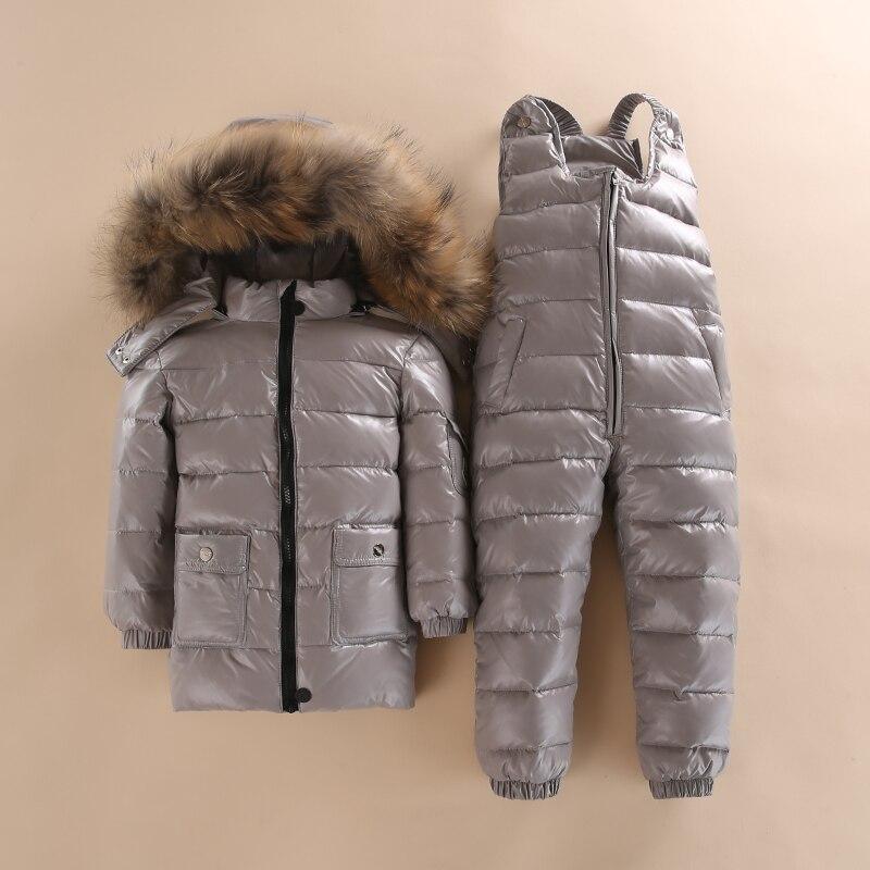 -30 3 ~ 5 Y Russo Snowsuit crianças define Bebê Roupas Crianças Casaco de Inverno Casaco branco para baixo Meninos À Prova D' Água para As Meninas Enfant Parka