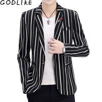 New 2019 Luxury Men's Slim Fit Blazer Brand High Quality Cotton Blends Slim Fit Stripe Male Suit Terno Masculino Blazers Men