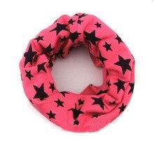 Красный цвет последнее детское кольцо хлопковые шарфы шаль унисекс зима вязание звезды шеи теплые