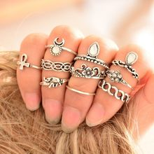10 pcs/set Antique Silver Gold Color Crystal Elephant Moon Knuckle Rings Set Hollow Cross Flower Midi Finger Ring Women Jewelry