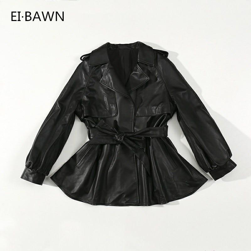 Manteau court Femmes Automne 2018 Mode Véritable En Cuir Noir Ceinture Décoration Casual Streetwear Réel en peau de Mouton Dames Veste À La Mode