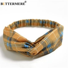 BUTTERMERE Hair Bands For Women Vintage Plaid Headwear British Style Yellow Female Accessories 2019 New Ladies
