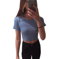 2015 New Women Cotton Cropped Tops 5 Colors Sexy Brief Style Slim Dew Waist Short Top