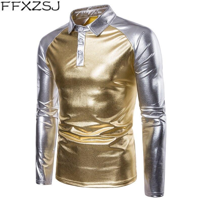 FFXZSJ Gold Silver Bright   Polo   Shirt Men Autumn Winter Brand Men's   Polo   Shirt Long Sleeve Casual Male Shirt Mens   Polo   Shirts