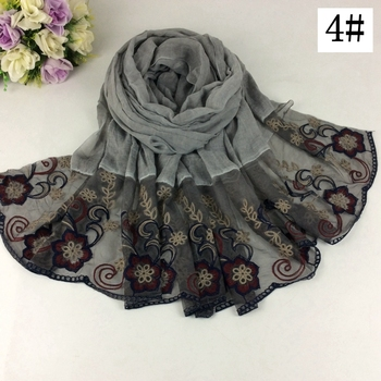 20pcs New Arrival Nice Floral Embroidery Cotton Lace Design Long Women Scarves And Shawls Muslim Hijab