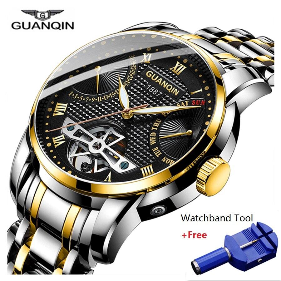 GUANQIN Clock Men Watch Mechanical Waterproof Automatic Tourbillon Style Business Watches Mens Wristwatch Relogio Masculino 2019