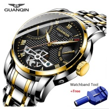GUANQIN Clock Men Watch Mechanical Waterproof Automatic Tourbillon Style Business Watches Mens Wristwatch Relogio Masculino 2019 все цены