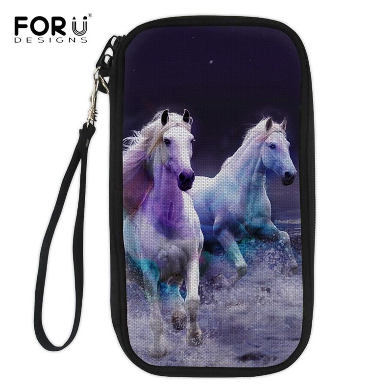 FORUDESIGNS Fashion Travel Credit Card Holder 3D Animal Horse Cat Print Women Durable Passport Wallet Multi Pockets Card Handbag ...