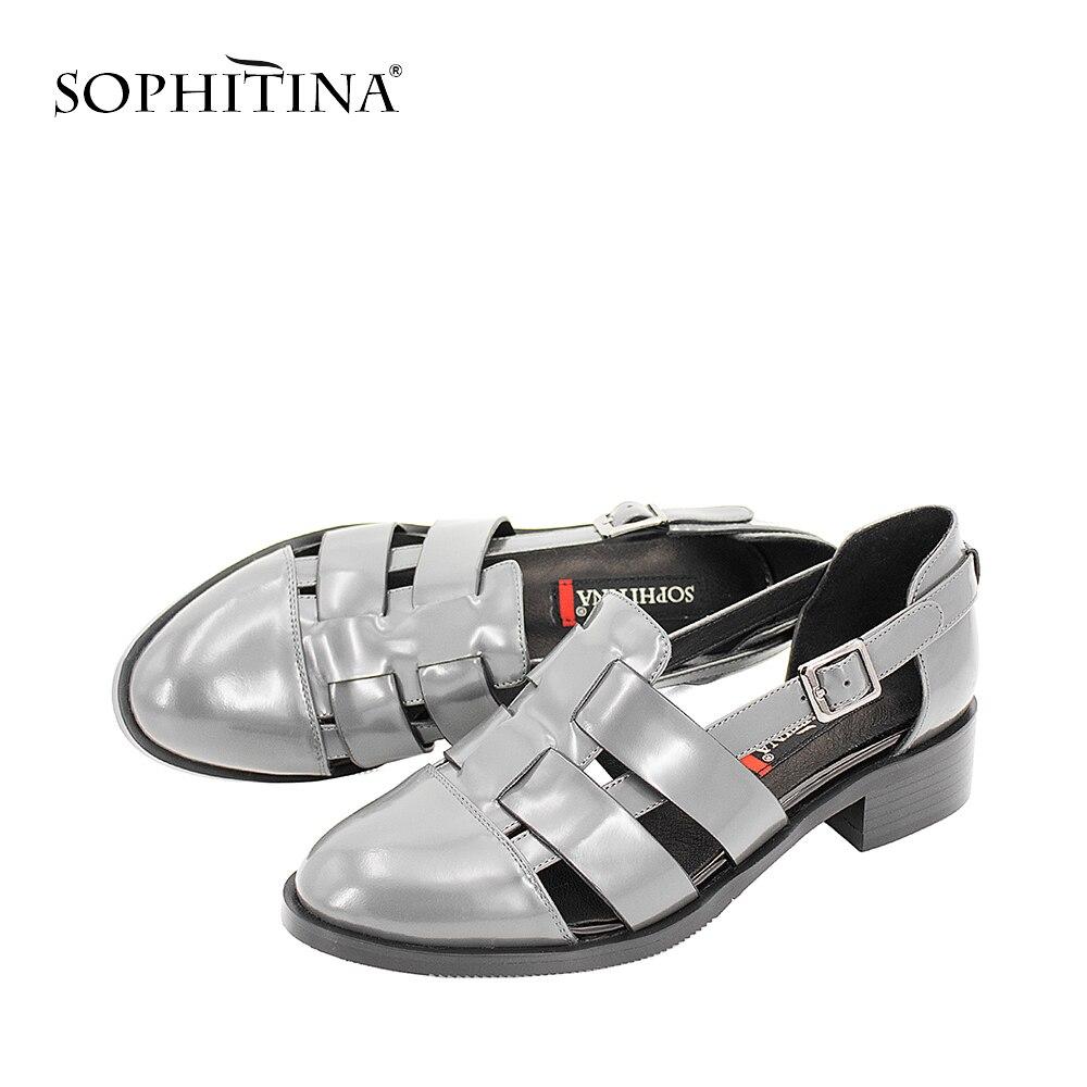 Décontractées Femmes Épais Qualité Sandales Chaussures Sophitina Supérieure gray S12 Gris Boucle Cuir Talon Doux En Bleu Verni Creux Black Sangle blue Noir ATqw558x