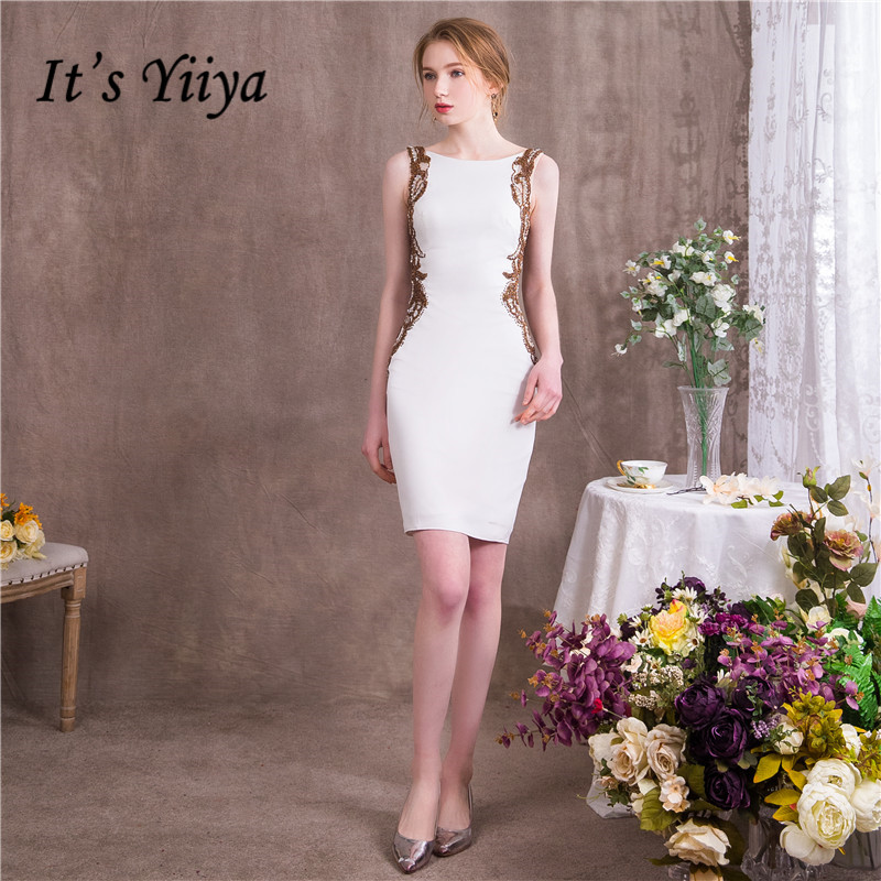 It's YiiYa O-Neck Sleveless Fashion Designer Luxury Elegant Sexy Backless   Cocktail   Gowns Bling Sequined   Cocktail     Dress   NX067