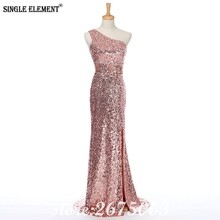 SINGLE ELEMENT Sequin One Shoulder Backless Sexy Long Prom Dress