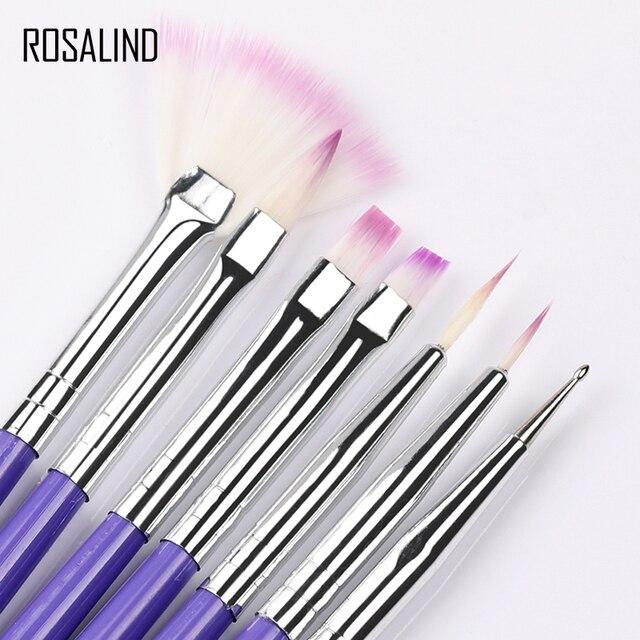ROSALIND 7 piezas manicura cepillo para uñas de arte pinceles de pintura que salpican diseño de uñas de manicura Kit del cepillo Gel barnices herramientas