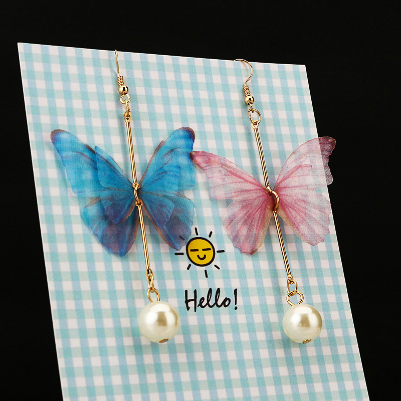 Handmade Ethereal Butterfly Drop Earrings Royal Blue Pink Color Fashion Earrings