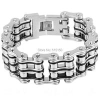 NEW PUNK Biker Bicycle Silver&Black 316L Stainless Steel Bracelet Jewelry Bike Chain Bracelet & Bangles Jewelery For Men