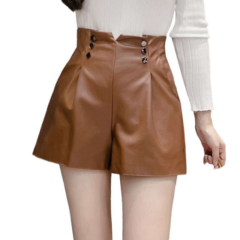 Korean Women's Leather Shorts High Waist Double Breasted Ladies Office Workwear Shorts Women PU Autumn Winter Casual Short Mujer
