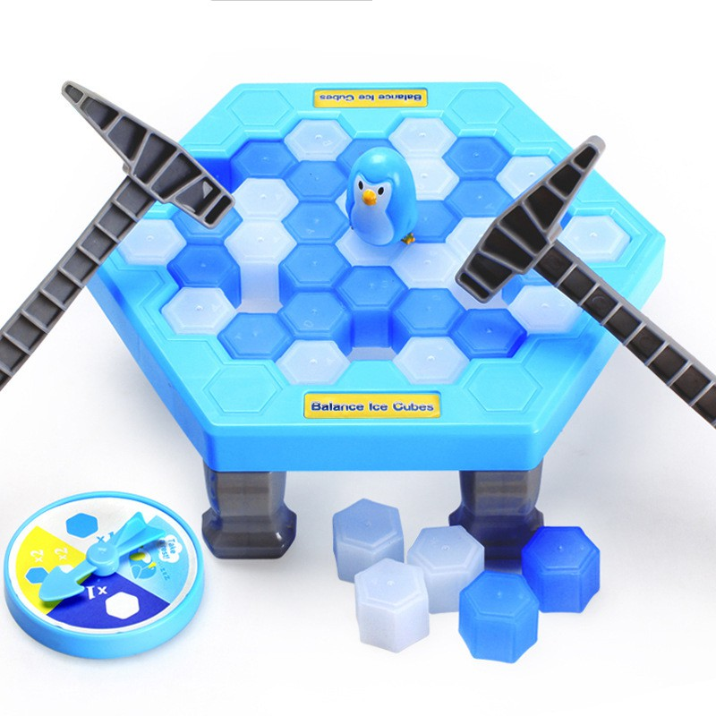 1pcs Interactive Family Fun GamePenguin Ice Breaking Puzzle Table Games Balance Ice Cubes Knock Ice Block Wall Toy Desktop Pate