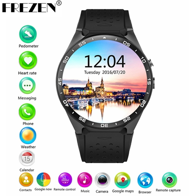 Frezen Горячие Kingwear Kw88 Android 5.1 Смарт часы-1.39 дюймов 400*400 SmartWatch телефон Поддержка 3 г WI-FI Nano SIM сердечного ритма PK X200