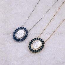 Groothandel 5 Stks shell charms met Micro pave Kubieke zirkoon gemengde kleur hanger ronde brief ketting hanger Cadeau voor haar 3194