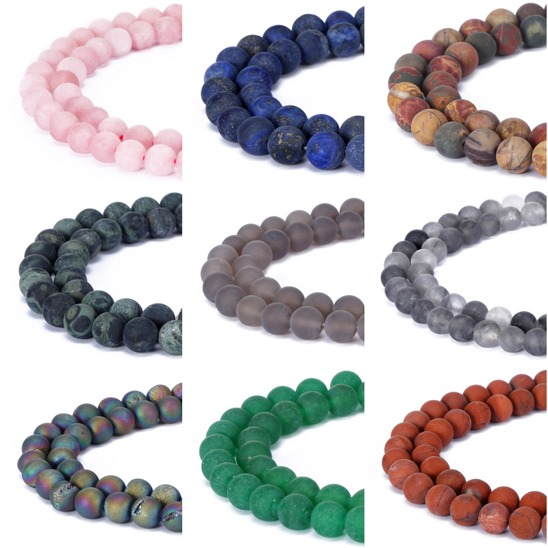 Contas de pedra natural de quartzo, preto, fosco, onix rosa, para fazer jóias, faça você mesmo, pulseira 4-12mm envio direto atacado