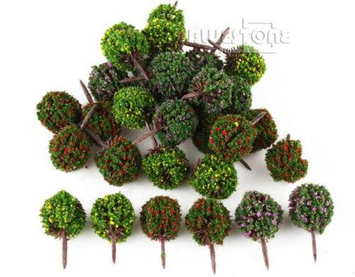 30 Mixed Flower Trees Model Train Garden Park Road Buildings Scenery 1:100 HO TT