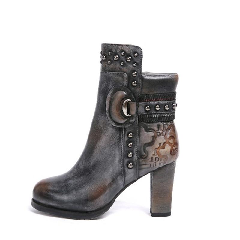 De Rivets Vache Bloc Chunky Cuir En Haut Réel Talon Confort Dark Chaussures Cheville Gray Bottes Véritable Femmes Vintage Aiykazysdl YzwSqBRxv