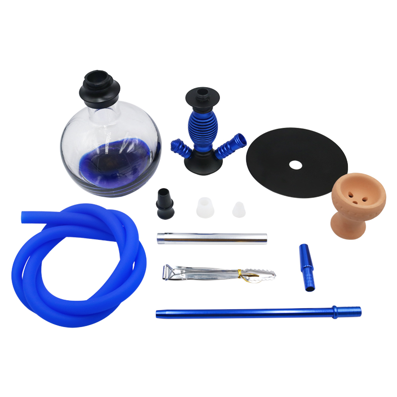 SY Glass Shisha Hookah Set with Water Smoking Pipe with Cermica Bowl Silicone Hose and Metal Charcoal Tongs Narguile in Shisha Pipes Accessories from Home Garden