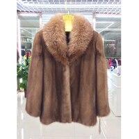 BFFUR реального норки пальто зимняя куртка для Для женщин теплые натуральным натуральная норковая шуба короткая Меховая Куртка Верхняя одежд