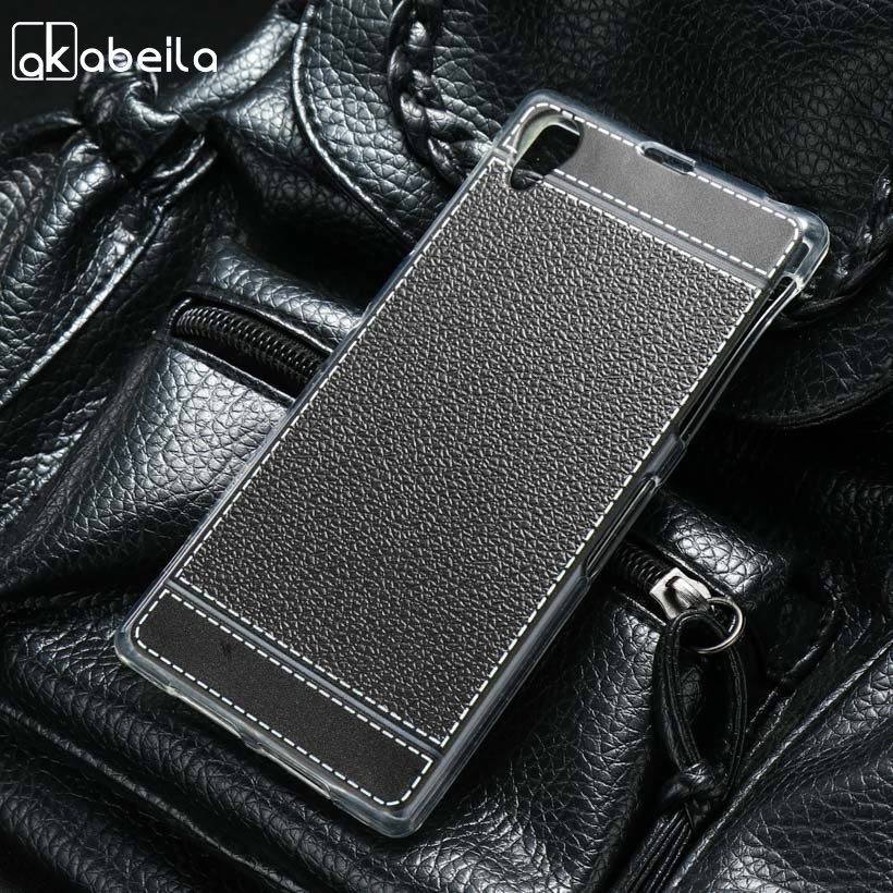 AKABEILA Silicone Phone Cover Case For Sony Xperia Z1 L39H C6903 C6943 LT39 C6902 C6906 5.0 inch Case TPU Lichee Cover Mobile
