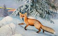 Pittura di Arte Animals fox inverno-Size Decorazione Della Casa della Tela di canapa Pittura A Olio Stampa Poster Immagini Muro