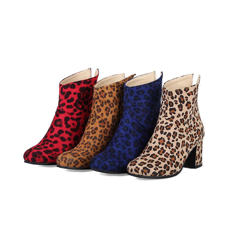 WETKISS Leopar Baskı Kadın Çizmeler Zip Yuvarlak Ayak Ayakkabı Ayak Bileği Kadın Çizme Kalın Yüksek Topuklu Ayakkabılar Kadın Kış 2018 Artı boyutu 47
