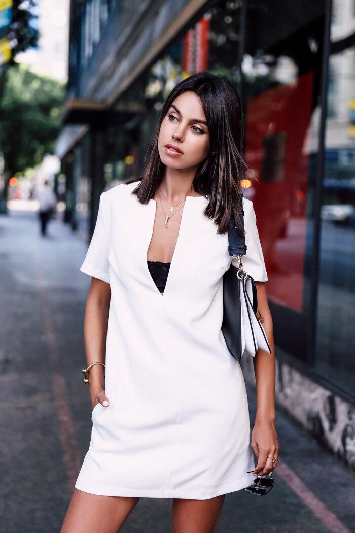 Padegao повседневная коротким рукавом v-образным вырезом рубашки dress белый лето туника мори женские платья высокого качества дамской одежды 2017 одежда