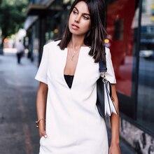AEL Повседневное платье-рубашка с коротким рукавом и v-образным вырезом Белая Летняя туника Mori женские платья Высокое качество Женская Мода одежда