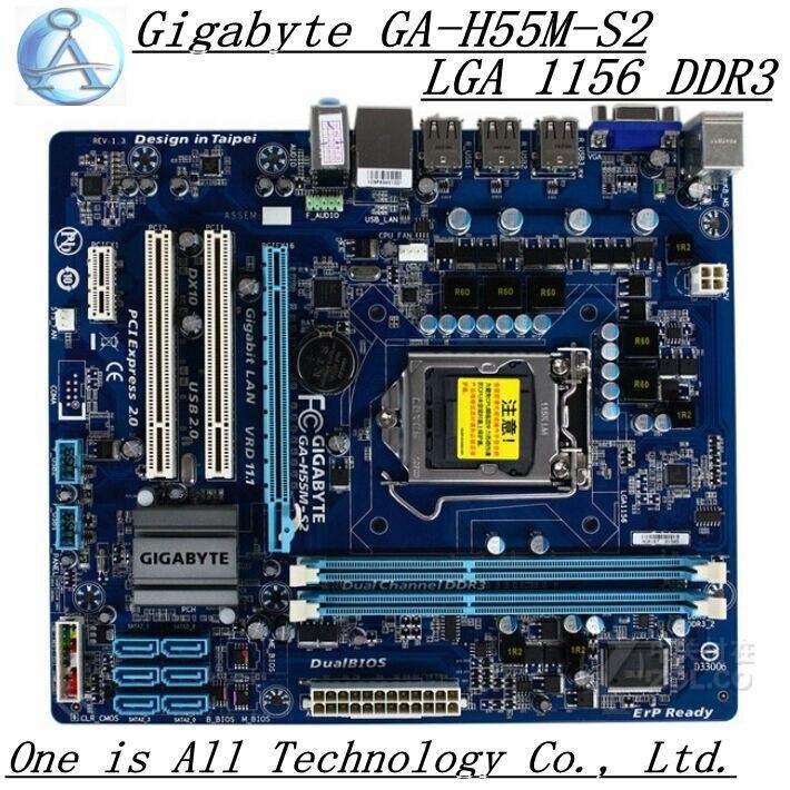 Carte mère d'origine pour carte mère Gigabyte GA-H55M-S2 DDR3 LGA 1156 H55M-S2 USB2.0 VGA 8 gb H55 carte mère de bureau livraison gratuite