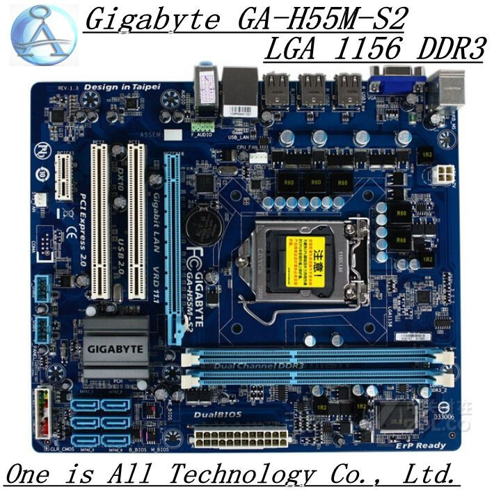 original motherboard for Gigabyte GA-H55M-S2 DDR3 LGA 1156 H55M-S2 USB2.0 VGA 8GB H55 desktop motherboard Free shipping