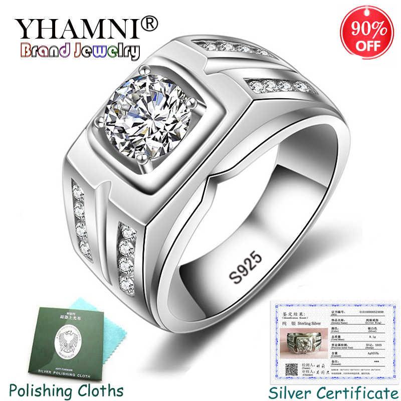 ส่งใบรับรอง! Original Solid 925 แหวนเงินชายของขวัญแหวนหมั้น Cubic Zircon งานแต่งงานแหวนขนาดใหญ่สำหรับชาย KPRJZ004