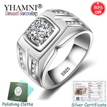 Sent Certificate! Original 925 Solid Silver Rings Men Gift Engagement Ring Round Cubic Zircon Wedding Big Rings for Men KPRJZ004(China)