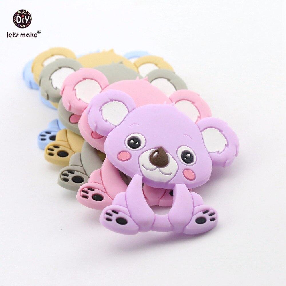 Lets Make Baby Silicone Cute Koala Teether 5pc Food Grade Pram Toy Teething Accessories Handmade DIY Nursing Necklace Pendants