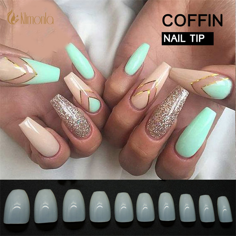 500Pcs/Lot French False Coffin Nails Short Tips Natural ...